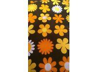 Vintage unused 1960s Moygashel Heidi Genia Sapper graphic floral cotton fabric