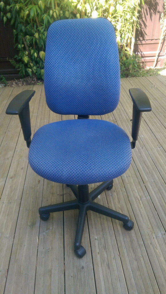 Quality used office chair - blue material. Fully functioning, I have 2 but will sell individually