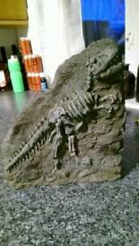 Aquarium ornament T rex fossil