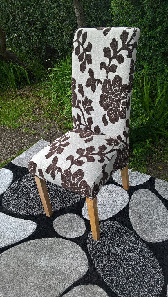 Ex-display Brown and White Fabric Material Scrolled Back Dining ...