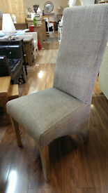 TWEED FABRIC DINING CHAIR SOLID OAK FRAME BRAND NEW