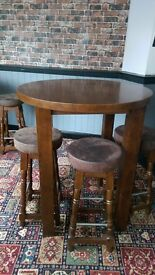 Three poser or tall wooden tables