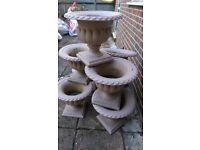 8 Replica pink granite plant pots