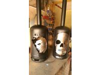 Garden wood burner painted in black vht,bare metal skull and lacquared