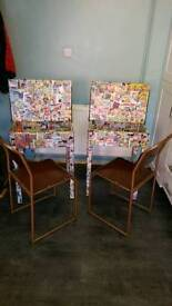 Decoupage desk and bamco chair.