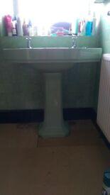 Art deco sink 78cm wide by 48 cm deep. green. Also cast iron bath andborigional mixer taps.