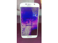 "USED SAMSUNG GALAXY S6 32GB UNLOCKED 5.1"" QHD ,3GB RAM (Damaged Screen & Microphone not working)"