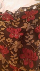 Curtains red gold brown flowered
