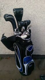 Immaculate full set MD Blackhawk Platinum golf clubs and bag