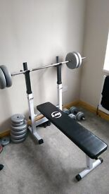 Weight lifting bench + weights