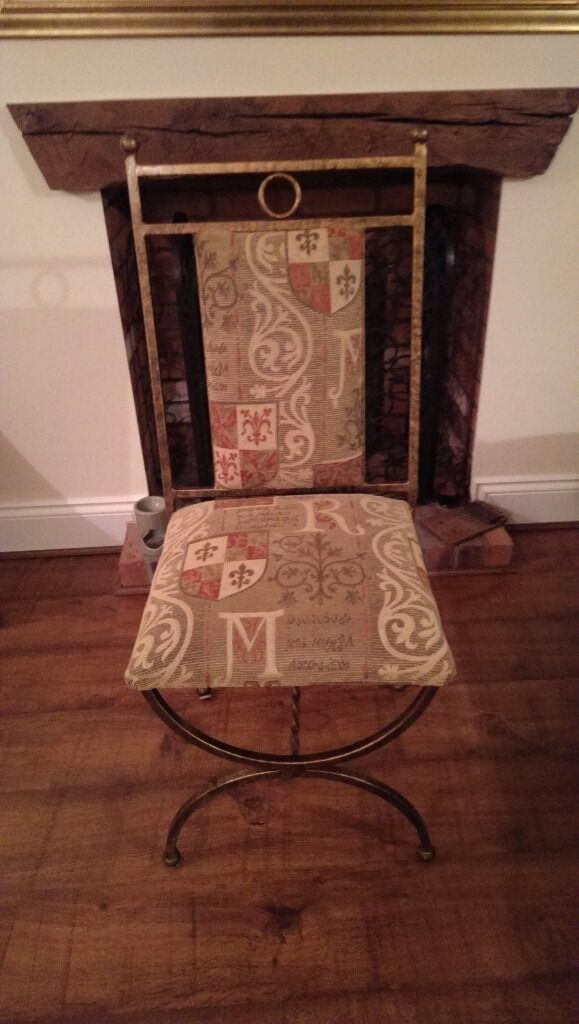 Six Wrought Iron Upholstered Dining Chairs Ex Lees Of Grimsby