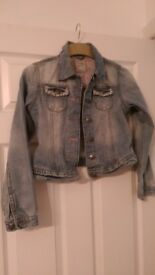 Next Denim jacket with sequin pockets age 11-12. Like new.