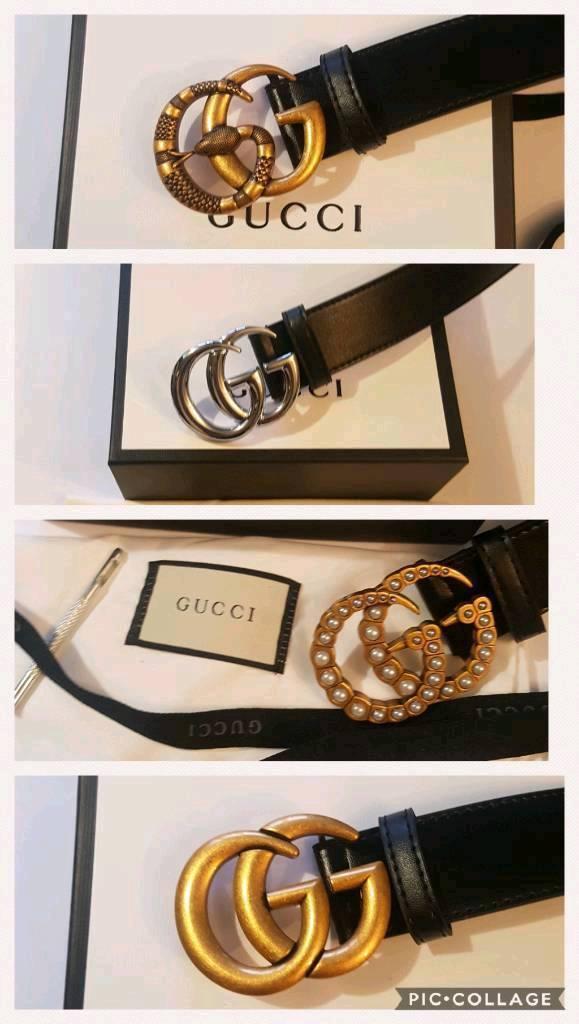 1231538479a Gucci leather belt men women GG
