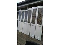6 pine half glazed doors 1950mm x 375mm