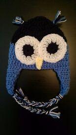 Handmade crochet owl beanie