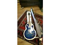 *EXCELLENT CONDITION* Epiphone Les Paul Standard Plus Top in Trans Blue with GIBSON HARD CASE