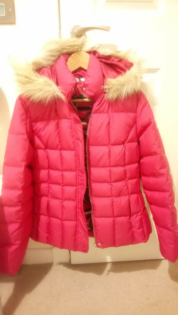 Ladies Dawn Winter Pink Jacket Per Una With Hood And Fur Only Worn
