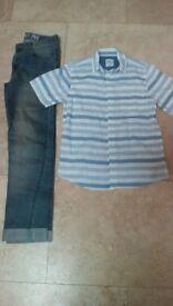 boys skinny denim jeans and shirt - age 12/13