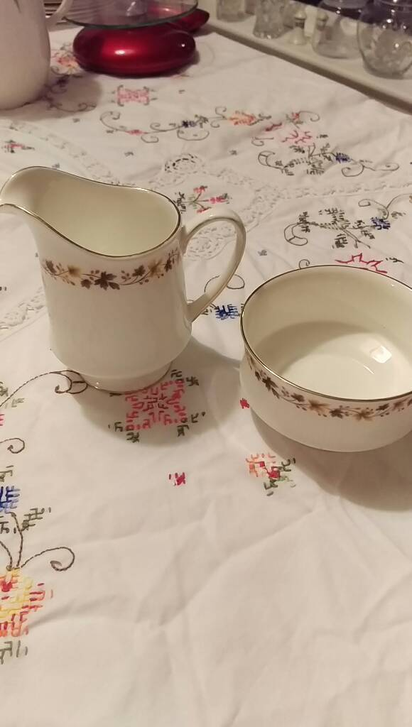 Royal Kent golden glory China milk jug and sugar bowl