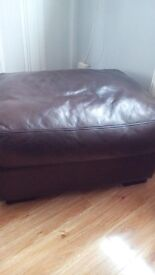 Reids leather suite brown, 3 seater sofa, chair and foot stool l, arge style, good condition