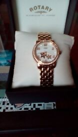 Ladies beautiful,rotary,rose gold star watch