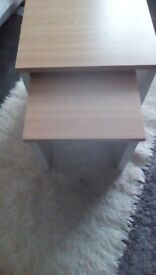 Set of contemporary tables, grey/oak finish, new.