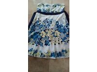Monsoon white/blue floral cotton strapless dress - size 16