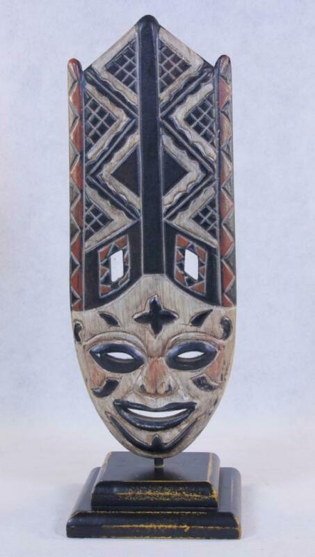 Decorative Wooden 12.5 Inch African Mask Shield Sculpture Stand