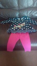 BNWT - George Girls Dress & Matching Leggings Set - 1 to 2 Years