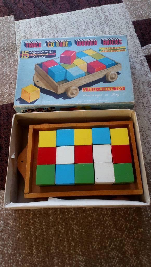 Vintage truck of coloured wooden bricks