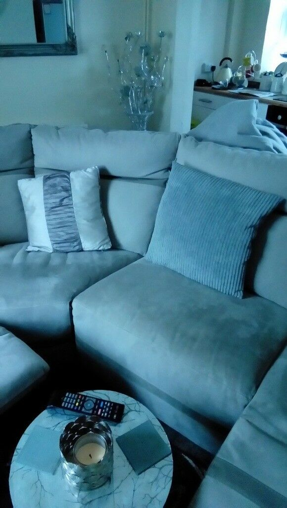 Large grey suede reclining corner suite for sale or swap