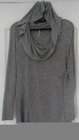Grey Longsleeved Top With Hood, S