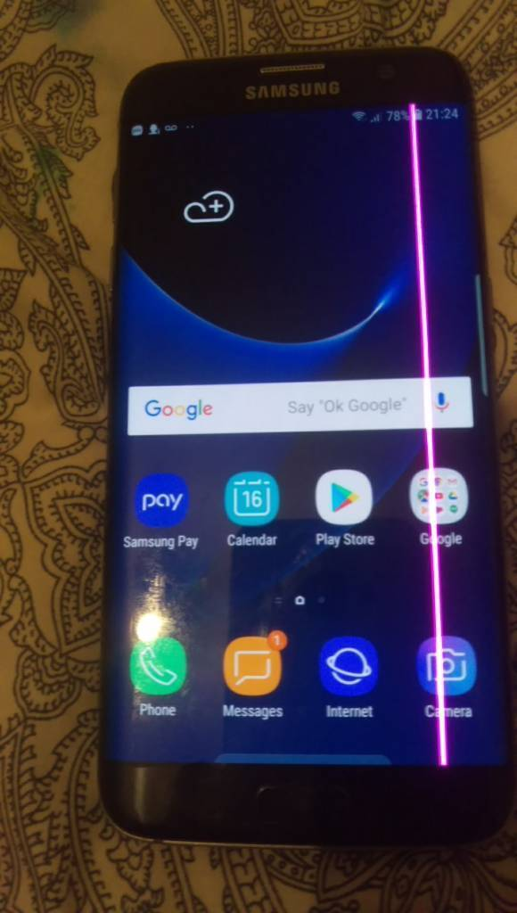 Samsung Galaxy s7 edge G935F unlocked black screen has a pink line at right  edge phone fully works | in Victoria Park, London | Gumtree
