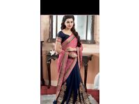 Navy and pink saree