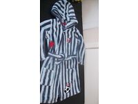 Boys football themed fleece dressing gown (Aged 3-4 Yrs) Excellent condition