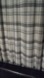 Curtains, grey heritage check with chrome eyelets, 66 inch x 72 inch drop.