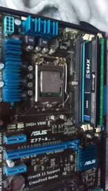 Asus z77-A motherboard+12g ram +intel core i5 2400 quad core 3.1 ghz