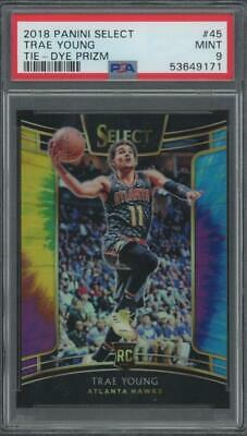2018 Panini Select Tie Dye Prizm #45 Trae Young 24/25 RC Rookie Mint PSA 9