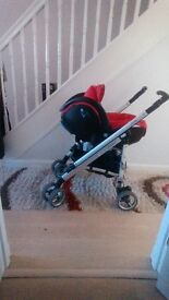 Loola Pushchair with car seat sleeping cot all with rain covers