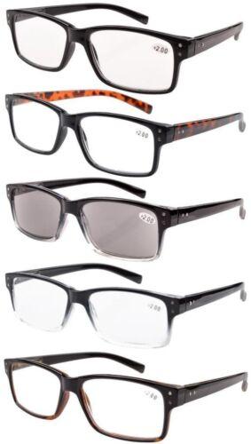 5-pack Vintage Reading Glasses with Spring Hinges Men