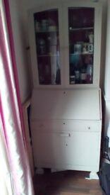 Bureau with glass cabinet