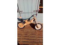 Wooden childs balance bike