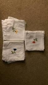 Vintage embroidered white napkins