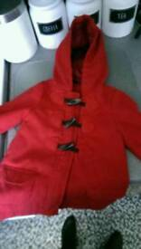 Girls red coat 1 year 12-18 months