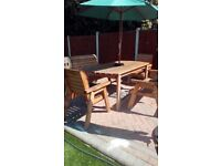 Nearly new wooden garden table+ 2 benches OR 2 chairs with tray