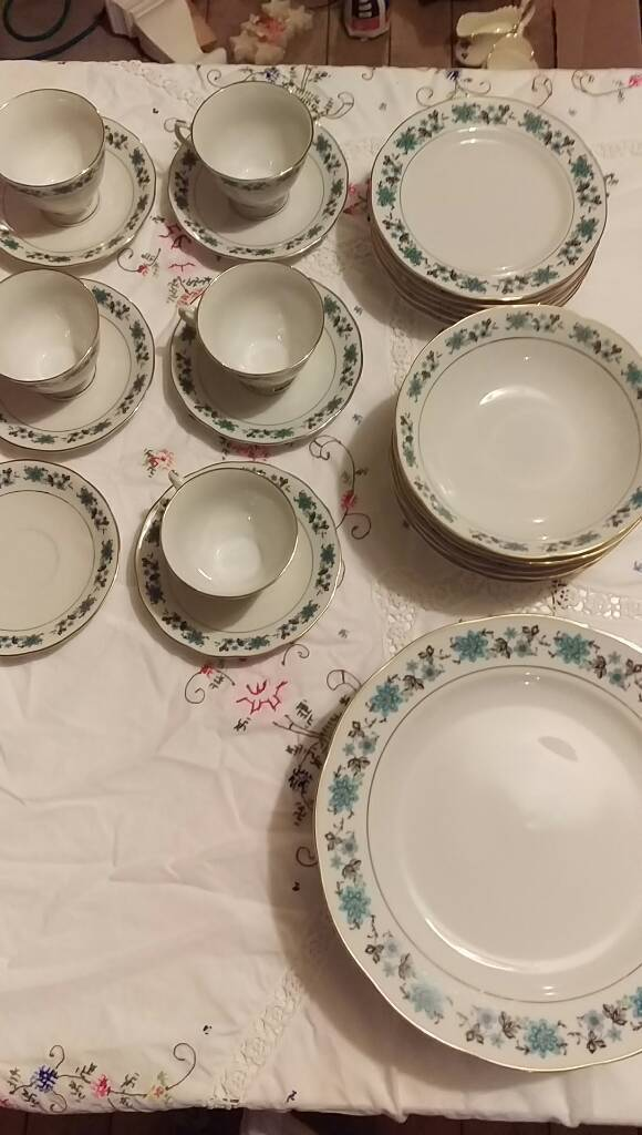 Blue, China tableware set for 6