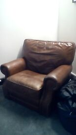 Leather DeCoro brown reclining armchair