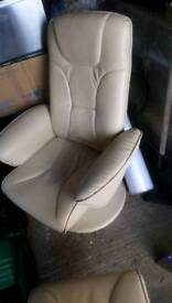 Cream leather lounger