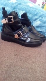 River Island Chunky Buckle Shoes size 8-9