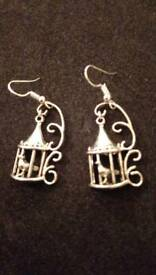 Birdcage earrings 1 1/2 inch .silver colour .New